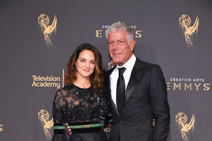 Asia Argento and Anthony Bourdain attend day 1 of the 2017 Creative Arts Emmy Awards at Microsoft Theater on September 9, 2017 in Los Angeles, California