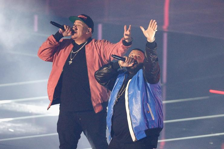 Fat Joe and DJ Khaled perform during the 2017 Verizon Slam Dunk Contest at Smoothie King Center on February 18, 2017 in New Orleans, Louisiana