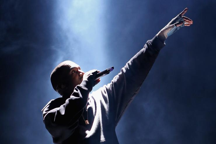 Kanye West performs at the Rn. 1st Annual Roc City Classic Starring Kevin Durant x Kanye West on February 12, 2015 in New York City.