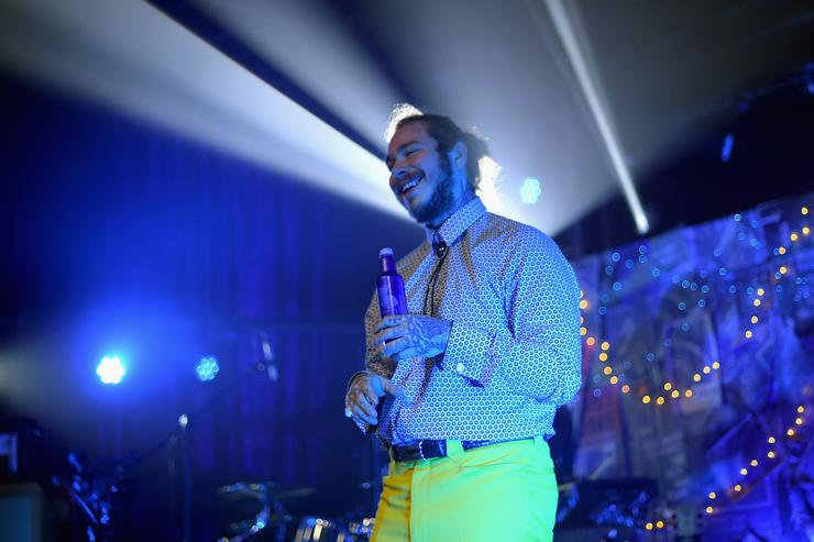 Post Malone performs onstage for Bud Light's Dive Bar Tour at the Exit/In on April 4, 2018 in Nashville, Tennessee