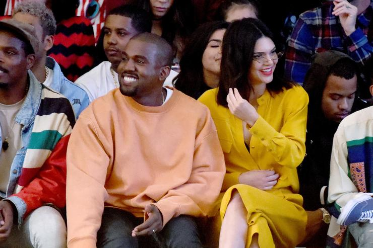 Kanye West (L) and model Kendall Jenner attend Tyler, the Creator's fashion show for Made LA at L.A. Live on June 11, 2016 in Los Angeles, California