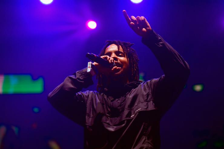 Earl Sweatshirt performs on the Flog Stage during day 2 of Camp Flog Gnaw Carnival 2017 at Exposition Park on October 29, 2017 in Los Angeles, California.