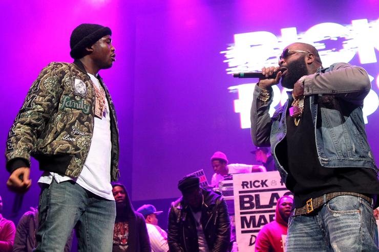 Meek Mill (L) and Rick Ross perform onstage during 105.1's Powerhouse 2015 at the Barclays Center on October 22, 2015 in Brooklyn, NY