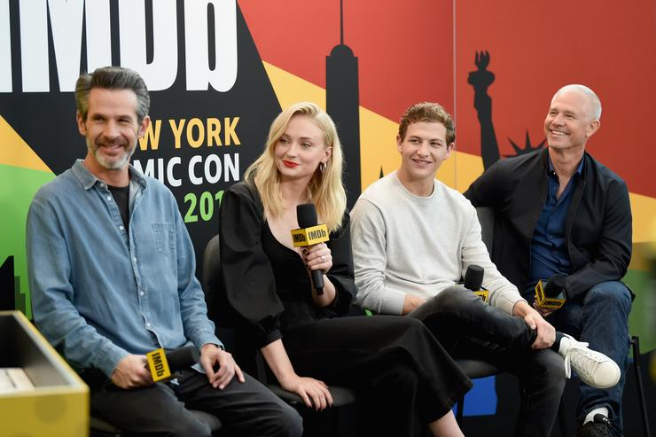 Director Simon Kinberg, Sophie Turner, Tye Sheridan, and producer Hutch Parker of 'X-Men: Dark Phoenix' attend IMDb at New York Comic Con - Day 1 at Javits Center on October 5, 2018 in New York City.