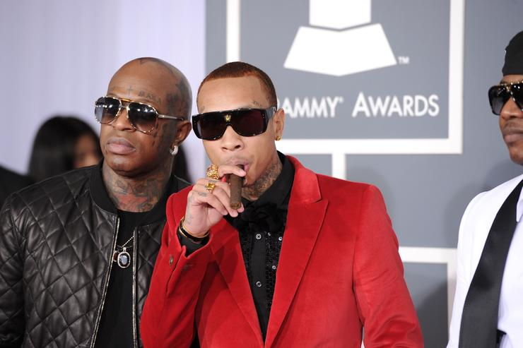 Rappers Birdman and Tyga arrive at the 54th Annual GRAMMY Awards held at Staples Center on February 12, 2012 in Los Angeles, California.