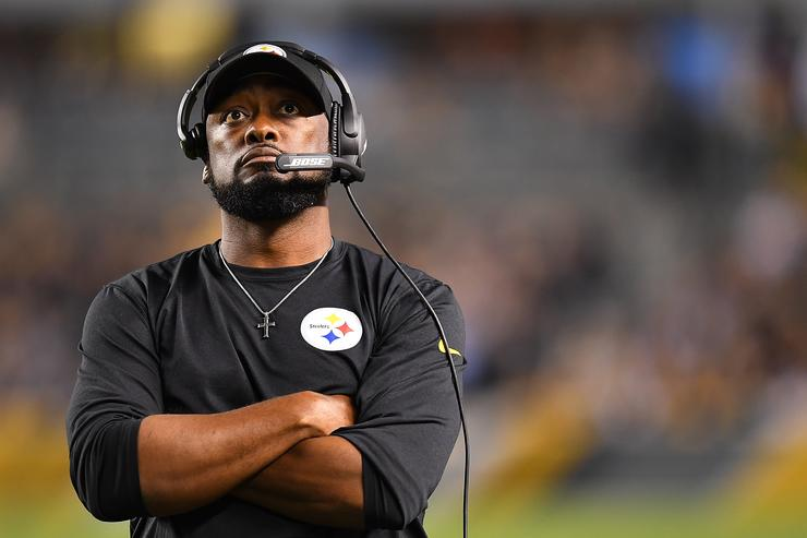 head coach Mike Tomlin of the Pittsburgh Steelers looks on during the game against the Baltimore Ravens at Heinz Field on September 30, 2018 in Pittsburgh, Pennsylvania.