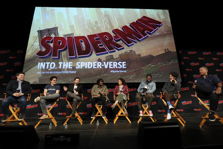 Producers Christopher Miller and Phil Lord, actors Jake Johnson, Shameik Moore, Luna Lauren Velez and Brian Tyree Henry and Directors Bob Persichetti and Peter Ramsey speak on stage at Columbia Pictures and Sony Pictures AnimationÕs SPIDER-MAN: INTO THE SPIDER-VERSE panel during New York Comic Con at Madison Square Garden on October 6, 2018 in New York City.