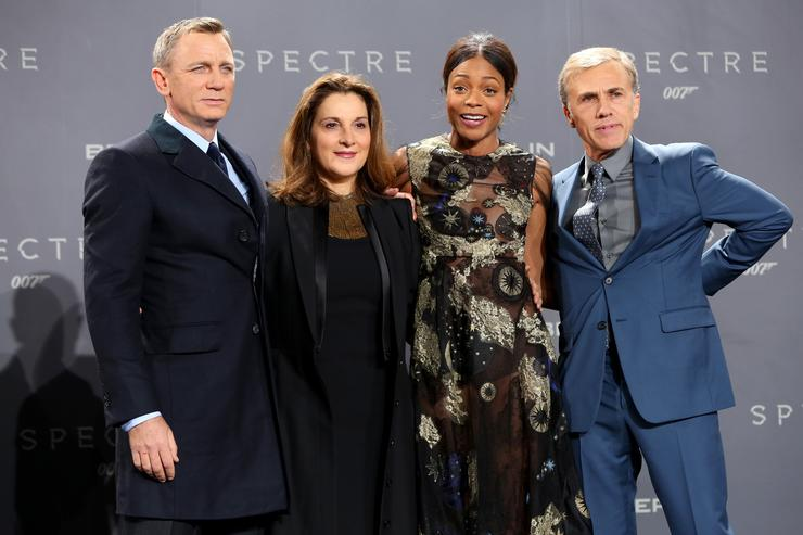 Actor Daniel Craig, producer Barbara Broccoli, actress Naomie Harris and actor Christoph Waltz attend the German premiere of the new James Bond movie 'Spectre' at CineStar on October 28, 2015 in Berlin, Germany.