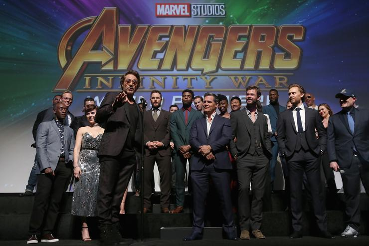 Actor Robert Downey Jr. and cast & crew of 'Avengers: Infinity War' attend the Los Angeles Global Premiere for Marvel Studios' Avengers: Infinity War on April 23, 2018 in Hollywood, California.