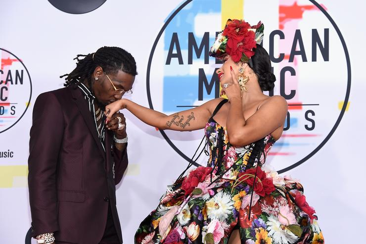Offset (L) and Cardi B attends the 2018 American Music Awards at Microsoft Theater on October 9, 2018 in Los Angeles, California