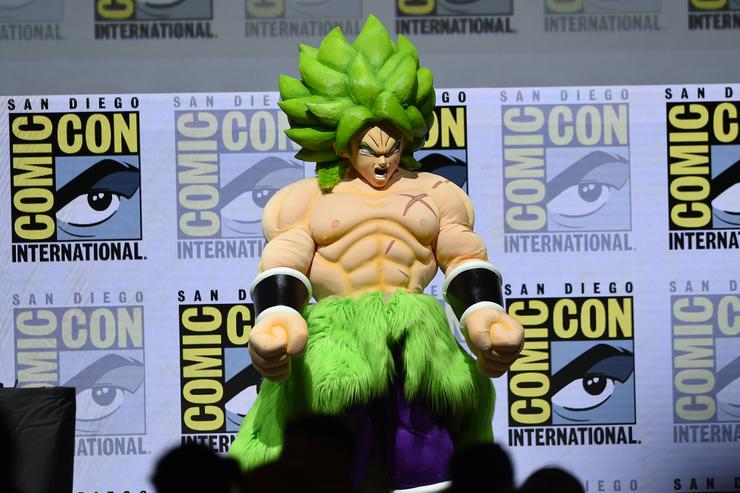 : 'Dragon Ball Super Broly' appears onstage during the Dragon Ball Super panel during Comic-Con International 2018 at San Diego Convention Center on July 19, 2018 in San Diego, California.