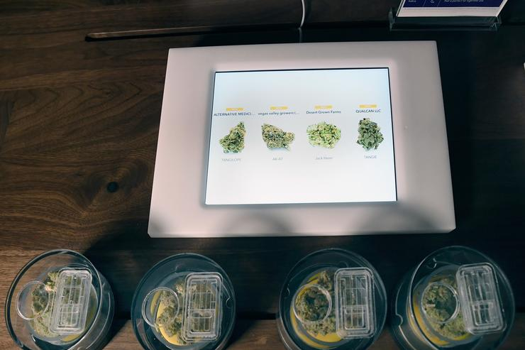 A MedMen iPad menu and cannabis flower are displayed during the grand opening of MedMen Downtown Las Vegas on July 18, 2018 in Las Vegas, Nevada.
