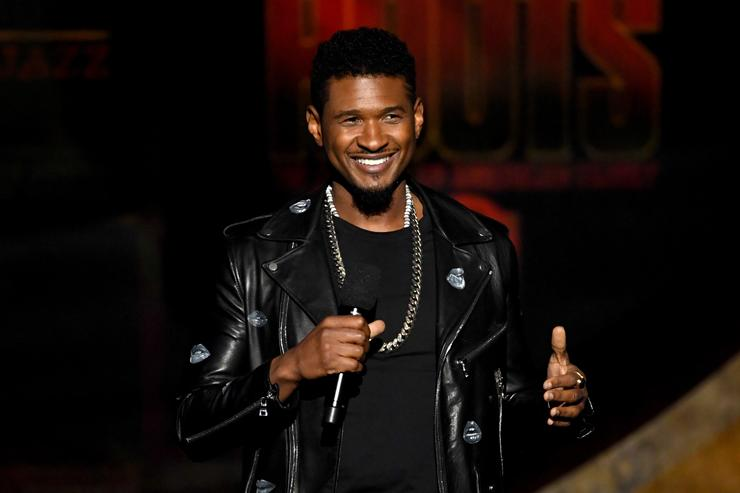 Usher speaks onstage at Q85: A Musical Celebration for Quincy Jones at the Microsoft Theatre on September 25, 2018 in Los Angeles, California