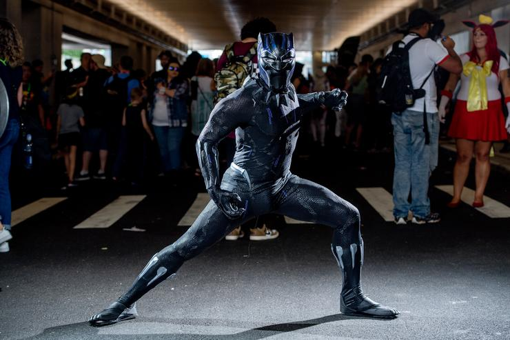 A fan cosplays as Black Panther from the Marvel Universe during the 2018 New York Comic-Con at Javits Center on October 7, 2018 in New York City.