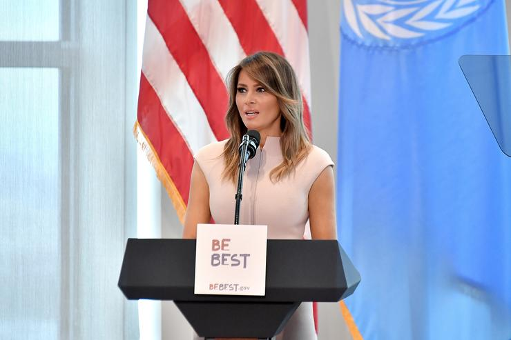 U.S. first lady Melania Trump hosts a reception in honor of United Nations General Assembly attendees at the U.S mission to the UN building on September 26, 2018 in New York City