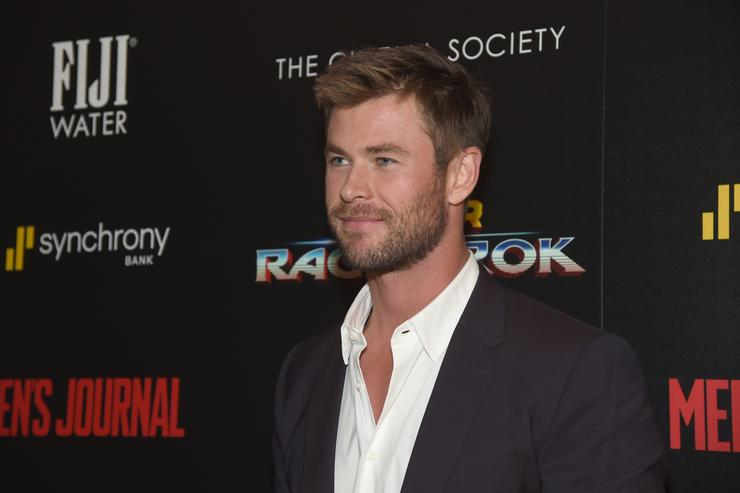 Chris Hemsworth attends The Cinema Society's Screening Of Marvel Studios' 'Thor: Ragnarok' at the Whitby Hotel on October 30, 2017 in New York City.