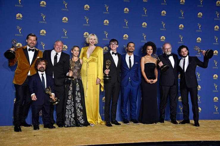 Cast of Outstanding Drama Series winner 'Game of Thrones' poses in the press room during the 70th Emmy Awards at Microsoft Theater on September 17, 2018 in Los Angeles, California.