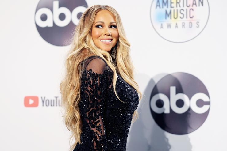 Mariah Carey poses in the press room during the 2018 American Music Awards at Microsoft Theater on October 9, 2018 in Los Angeles, California