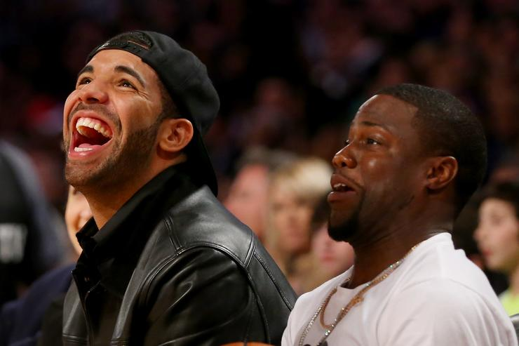 Drake and Kevin Hart attend the 2014 NBA All-Star game at the Smoothie King Center on February 16, 2014 in New Orleans, Louisiana