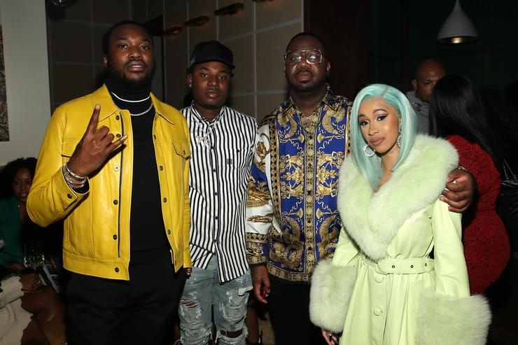 """(L-R) Rapper Meek Mill, Rapper Marlo, Quality Control's Pierre """"Pee"""" Thomas and Rapper Cardi B attend the Billboard 2018 R&B Hip-Hop Power Players event at Legacy Records on September 27, 2018 in New York City."""
