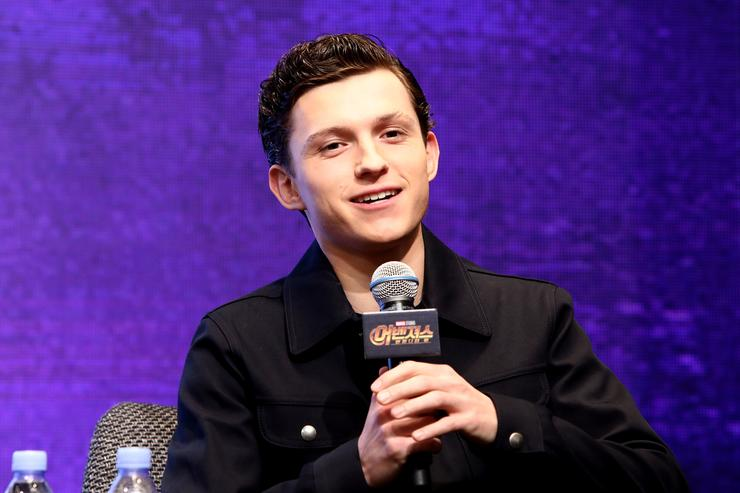 Tom Holland attends the press conference for 'Avengers: Infinity War' Seoul premiere on April 12, 2018 in Seoul, South Korea.
