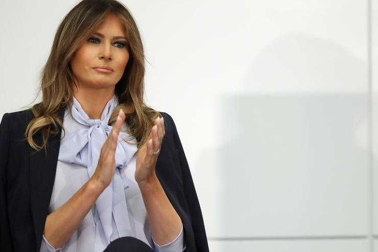 U.S. first lady Melania Trump participates in a Federal Partners in Bullying Prevention summit at the Health Resources and Service Administration August 20, 2018 in Rockville, Maryland.
