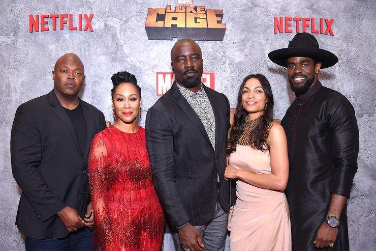 Cheo Hodari Coker Simone Missick Mike Colter Rosario Dawson and Mustafa Shakir attend the Netflix Original Series Marvel's Luke Cage Season 2 New York City Premiere