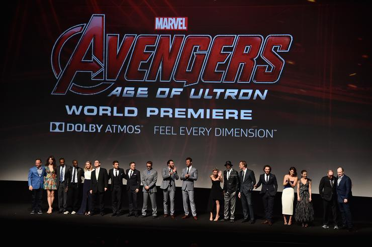 'Avengers: Age Of Ultron' cast and producers pose onstage during the world premiere of Marvel's 'Avengers: Age Of Ultron' at the Dolby Theatre on April 13, 2015 in Hollywood, California