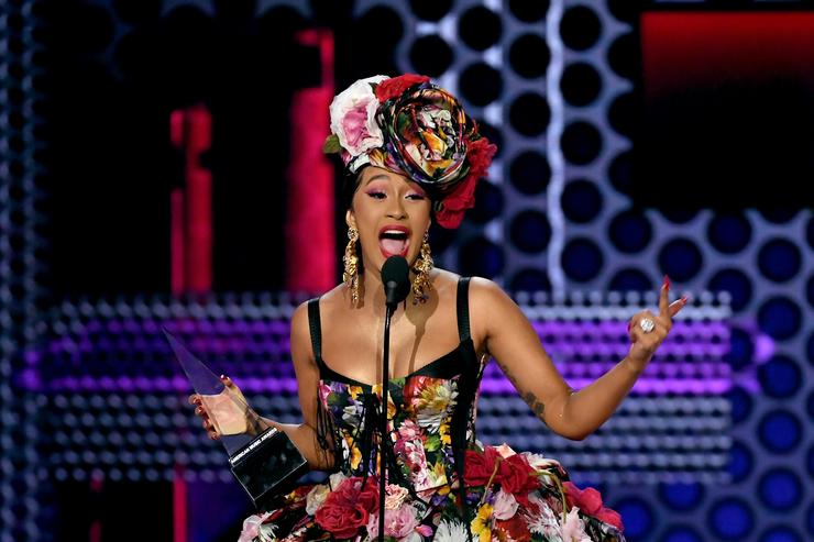 Cardi B accepts Favorite Artist - Rap/Hip-Hop onstage during the 2018 American Music Awards at Microsoft Theater on October 9, 2018 in Los Angeles, California