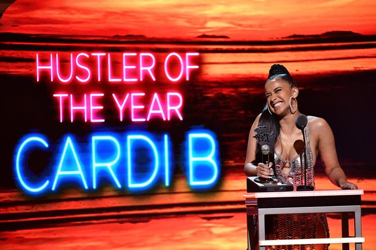 Cardi B accepts the award for 'Hustler of the Year' onstage during the BET Hip Hop Awards 2017 at The Fillmore Miami Beach at the Jackie Gleason Theater on October 6, 2017 in Miami Beach, Florida