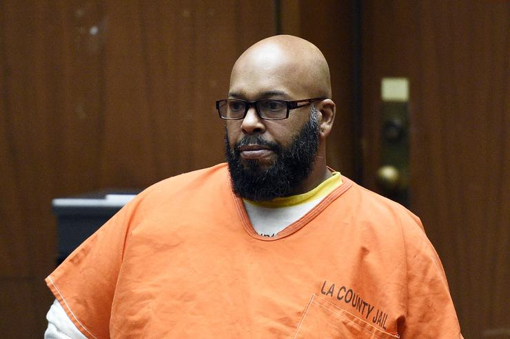 Marion 'Suge' Knight appears for a hearing at the Clara Shortridge Foltz Criminal Justice Center March 9, 2015 in Los Angeles, California. The hearing was scheduled to determine if the two criminal cases against Knight, one for murder and attempted murder when Knight allegedly ran over two men in a Compton parking lot after an argument and another case involving an alleged robbery and criminal threats to a photographer in Beverly Hills, should be moved to the downtown Los Angeles courthouse.