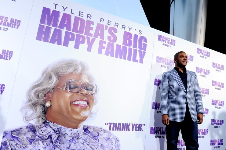 Tyler Perry arrives at a screening of Lionsgate Films&#039 'Tyler Perry's Madea's Big Happy Family&#039 at the Cinerama Dome Theater