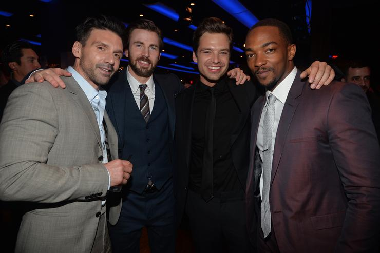 Actors Frank Grillo, Chris Evans, Sebastian Stan and Anthony Mackie attend the after party for Marvel's 'Captain America: The Winter Soldier' premiere at the El Capitan Theatre on March 13, 2014 in Hollywood, California.