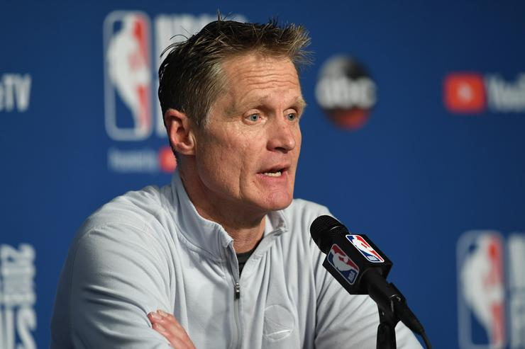 Steve Kerr of the Golden State Warriors speaks to the media after defeating the Cleveland Cavaliers during Game Four of the 2018 NBA Finals at Quicken Loans Arena on June 8, 2018 in Cleveland, Ohio.