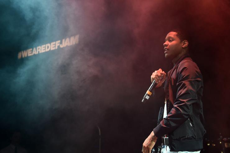 Lil Durk performs during the Def Jam Upfronts 2015 Showcase Powered By Samsung Milk Music & Milk Video at Arena on May 12, 2015 in New York City.