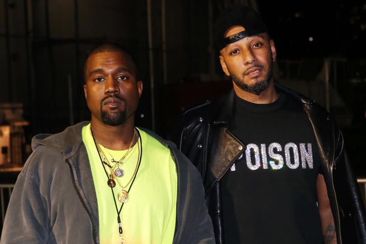 Kanye West (L) and Swizz Beatz attend the Nas 'Nasir' Album Listening Session on June 14, 2018 in New York City.