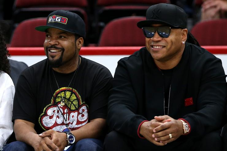 Co-Founder and entertainer Ice Cube sits with rapper LL Cool J during week two of the BIG3 three on three basketball league at United Center on June 29, 2018 in Chicago, Illinois.