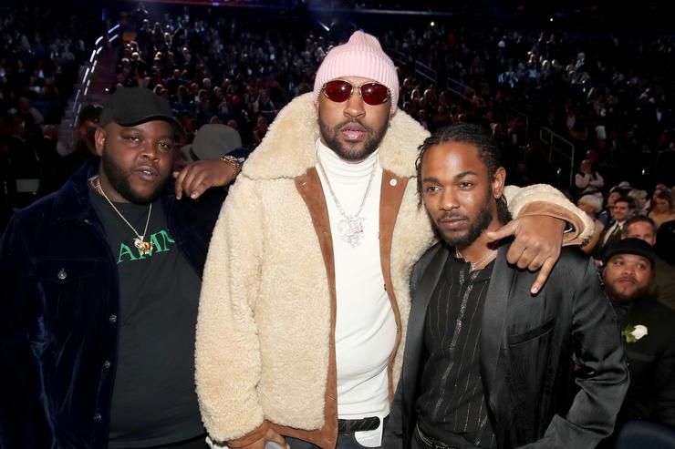 James Fauntleroy, Mike WiLL Made-It and Kendrick Lamar attend the 60th Annual GRAMMY Awards at Madison Square Garden on January 28, 2018 in New York City