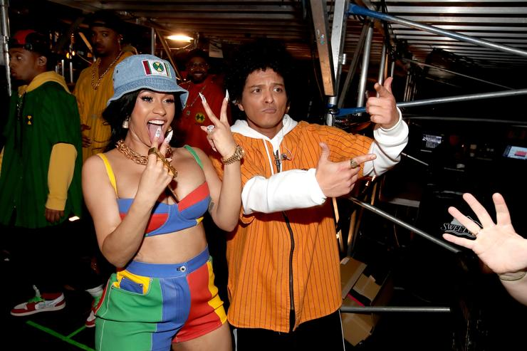 Cardi B and Bruno Mars attends the 60th Annual GRAMMY Awards at Madison Square Garden on January 28, 2018 in New York City