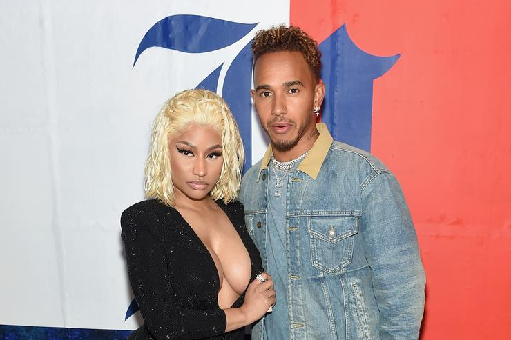 Nicki Minaj and Lewis Hamilon attend the TommyXLewis Launch Party at Public Arts on September 10, 2018 in New York City