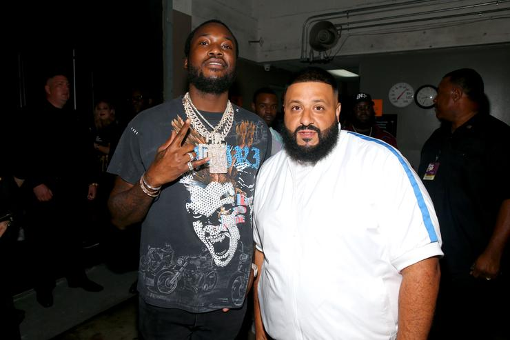 Meek Mill and DJ Khaled are seen backstage during the BET Hip Hop Awards 2018 at Fillmore Miami Beach on October 6, 2018 in Miami Beach, Florida