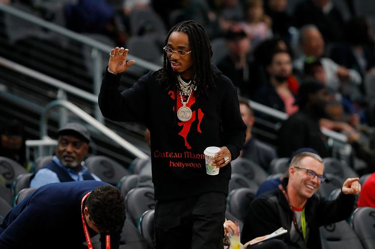 Quavo of Migos watches the game between the Atlanta Hawks and the Detroit Pistons at State Farm Arena on November 9, 2018 in Atlanta, Georgia