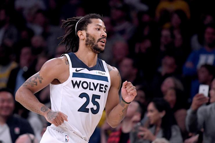 Derrick Rose #25 of the Minnesota Timberwolves reacts to his three pointer during a 114-110 loss to the Los Angeles Lakers at Staples Center on November 7, 2018 in Los Angeles, California.