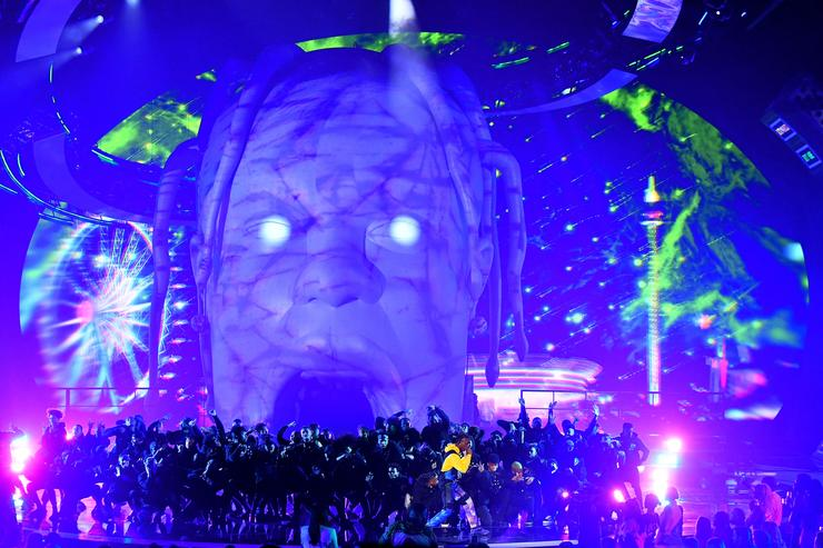 Travis Scott performs onstage during the 2018 MTV Video Music Awards at Radio City Music Hall on August 20, 2018 in New York City