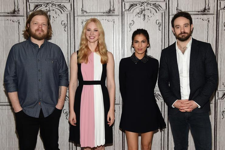 Elden Henson, Deborah Ann Wool, Elodie Yung and Charlie Cox of Netflix Original Series 'Marvel's Daredevil' attend the AOL Build Speakers Series at AOL Studios In New York on March 11, 2016 in New York City.