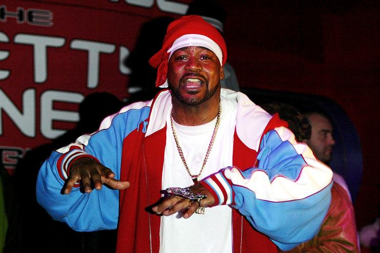 Rapper Ghostface Killah performs at Xbox party and concert at Discotheque February 20, 2004 in New York City.