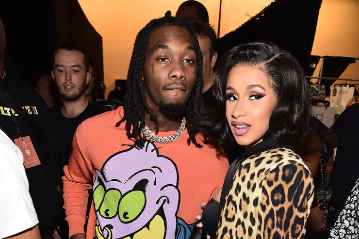 Offset and Cardi B pose backstage at the Jeremy Scott show during New York Fashion Week: The Shows at Gallery I at Spring Studios on September 6, 2018 in New York City