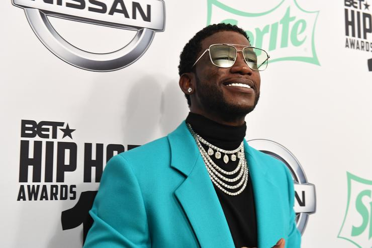 Rapper Gucci Mane arrives at the BET Hip Hop Awards 2018 at Fillmore Miami Beach on October 6, 2018 in Miami Beach, Florida.