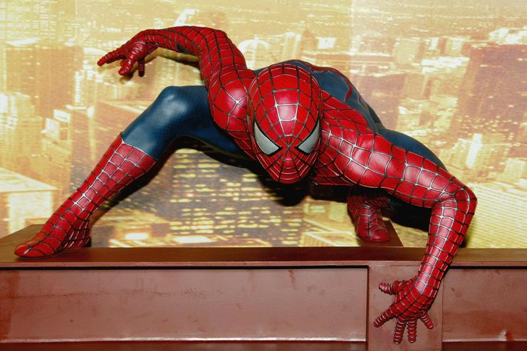 Interactive Spider-Man 2 attraction is unveiled at Madame Tussauds on July 15, 2004 in London. The attraction with new Spider-Man figure, features a web which visitors must ascend in an attempt to photograph the elusive superhero for the Daily Bugle.