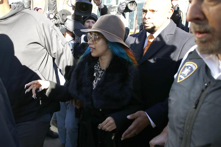 Cardi B appears in court to answer charges stemming from New York City strip club incident on December 07, 2018 in New York City